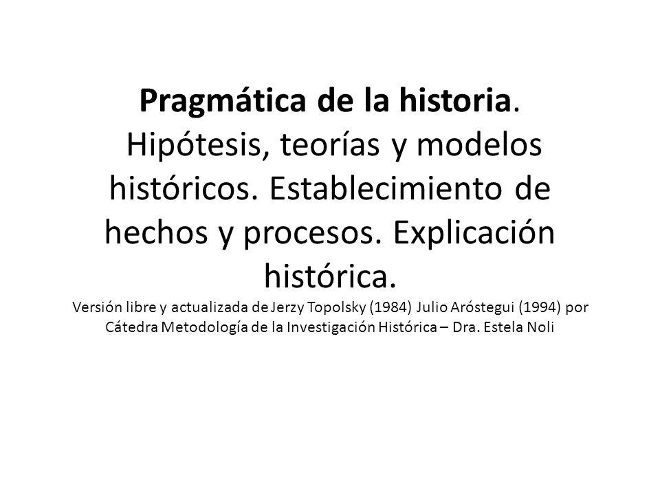 Pragmática de la historia. Hipótesis, teorías y modelos históricos