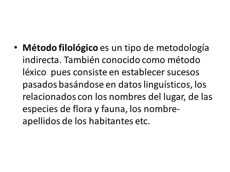 Método filológico es un tipo de metodología indirecta