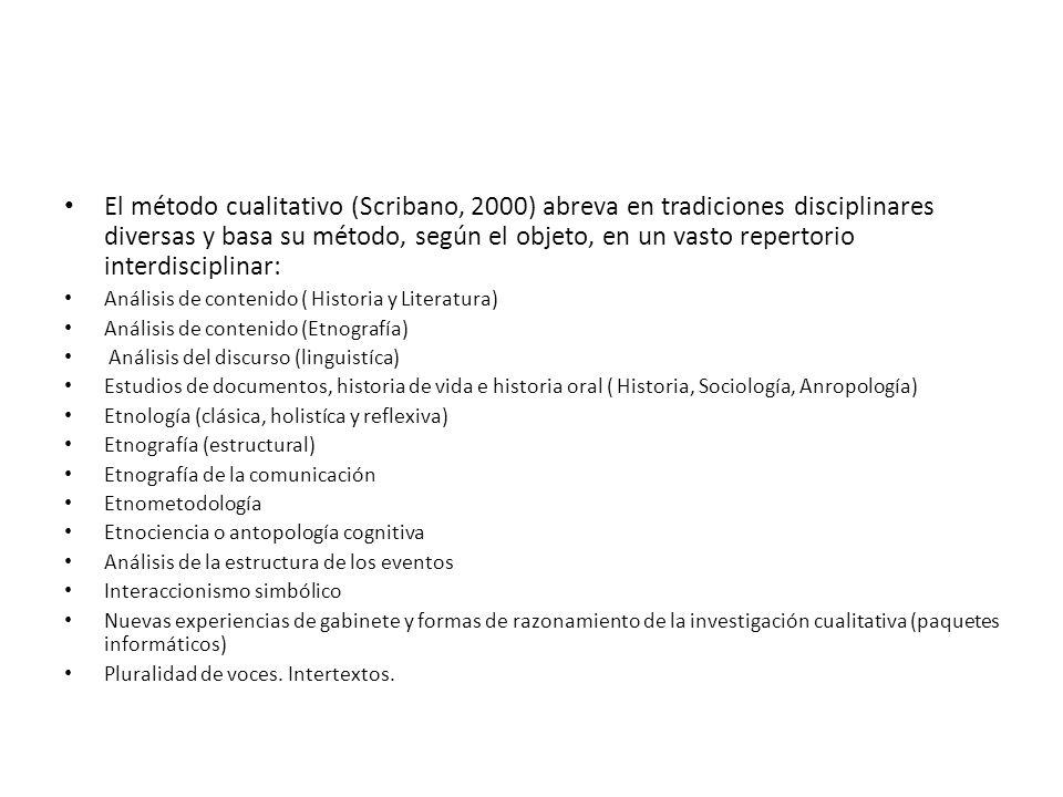 El método cualitativo (Scribano, 2000) abreva en tradiciones disciplinares diversas y basa su método, según el objeto, en un vasto repertorio interdisciplinar:
