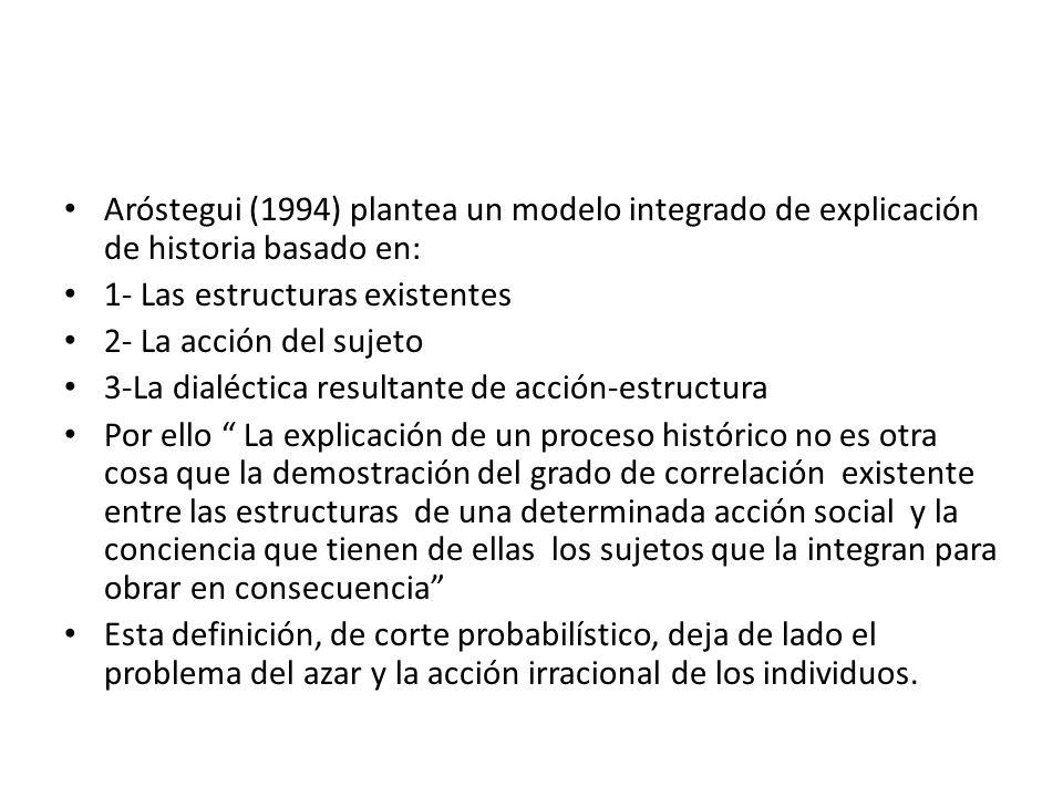 Aróstegui (1994) plantea un modelo integrado de explicación de historia basado en: