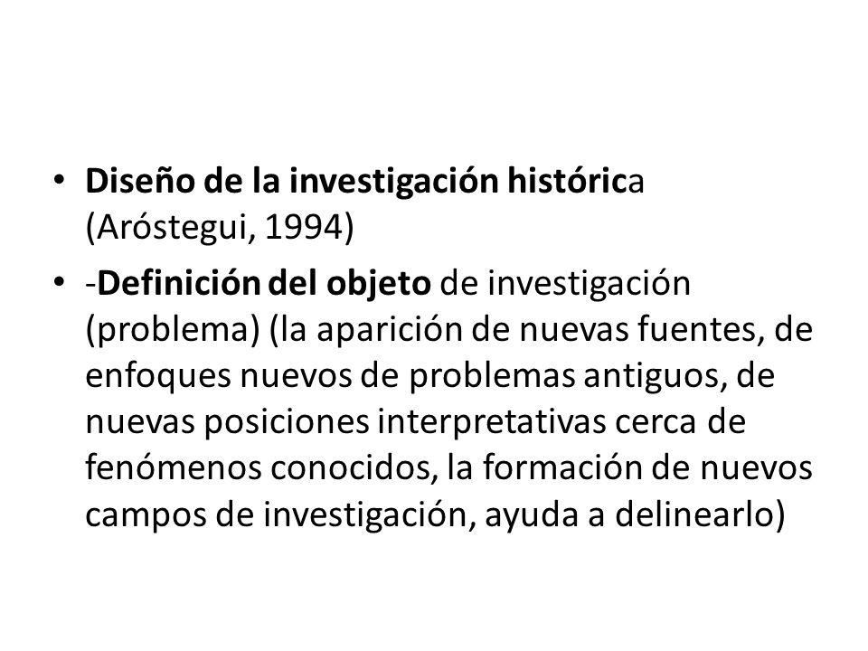 Diseño de la investigación histórica (Aróstegui, 1994)