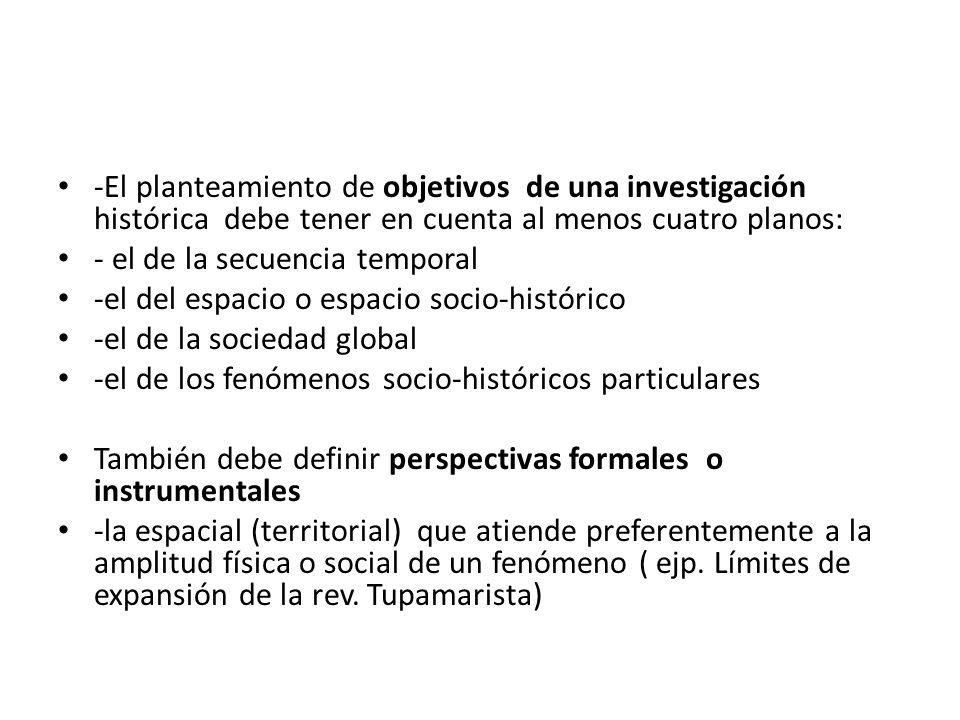 -El planteamiento de objetivos de una investigación histórica debe tener en cuenta al menos cuatro planos: