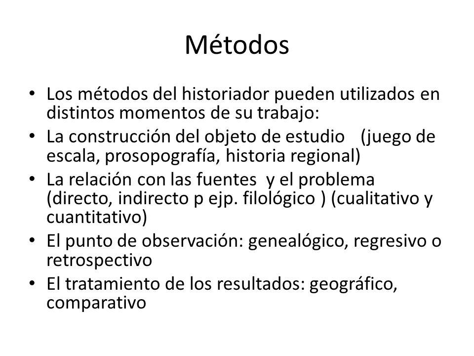 Métodos Los métodos del historiador pueden utilizados en distintos momentos de su trabajo: