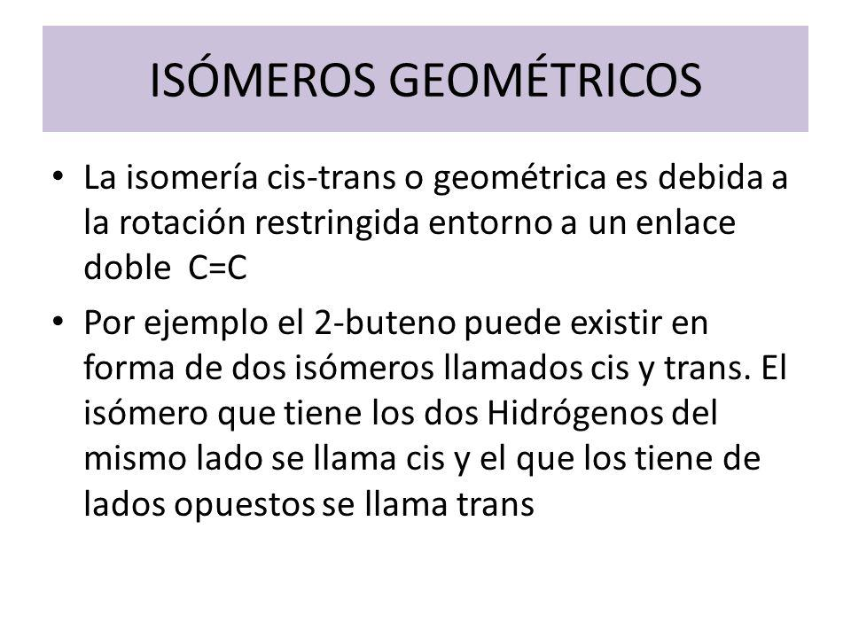 ISÓMEROS GEOMÉTRICOS La isomería cis-trans o geométrica es debida a la rotación restringida entorno a un enlace doble C=C.
