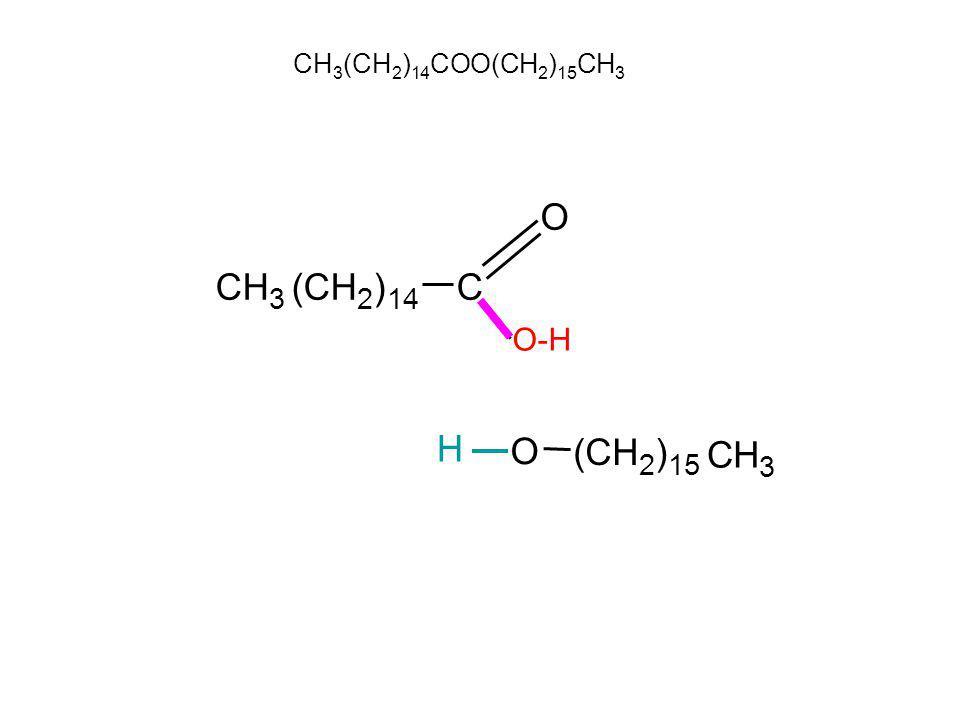 CH3(CH2)14COO(CH2)15CH3 CH 3 (CH 2 ) 14 C O O-H H O (CH 2 ) 15 C H 3
