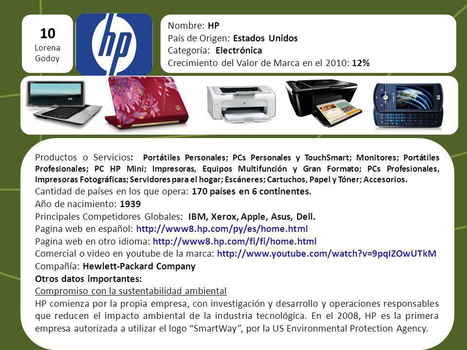 10 Nombre: HP País de Origen: Estados Unidos Categoría: Electrónica