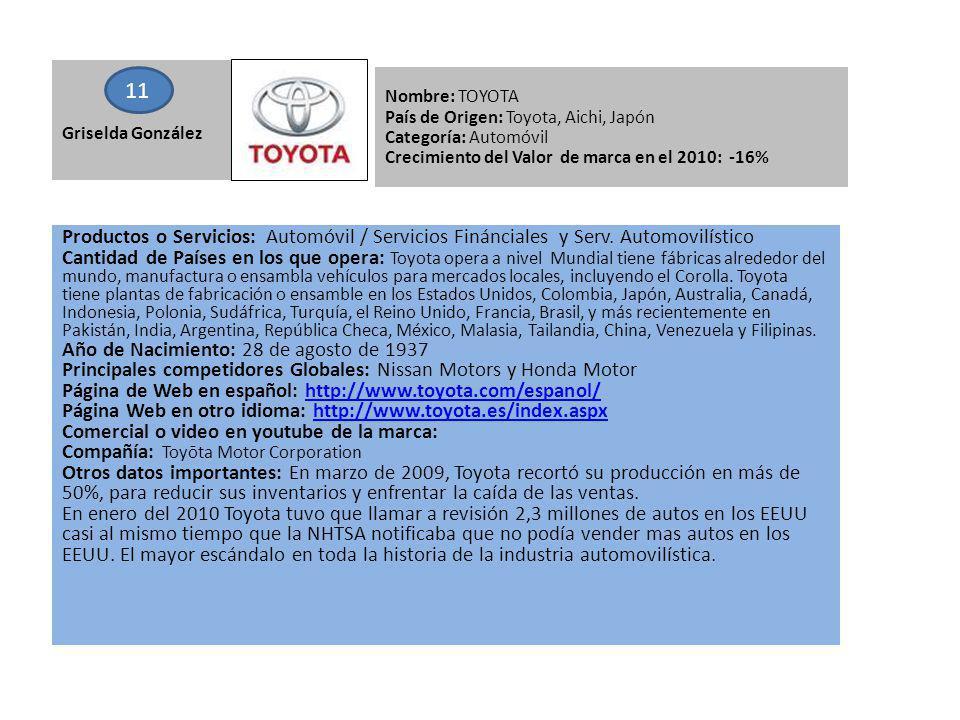 Griselda González 11. Nombre: TOYOTA. País de Origen: Toyota, Aichi, Japón. Categoría: Automóvil.