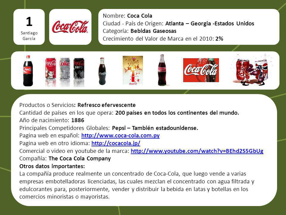 1 Santiago. García. Nombre: Coca Cola. Ciudad - País de Origen: Atlanta – Georgia -Estados Unidos.