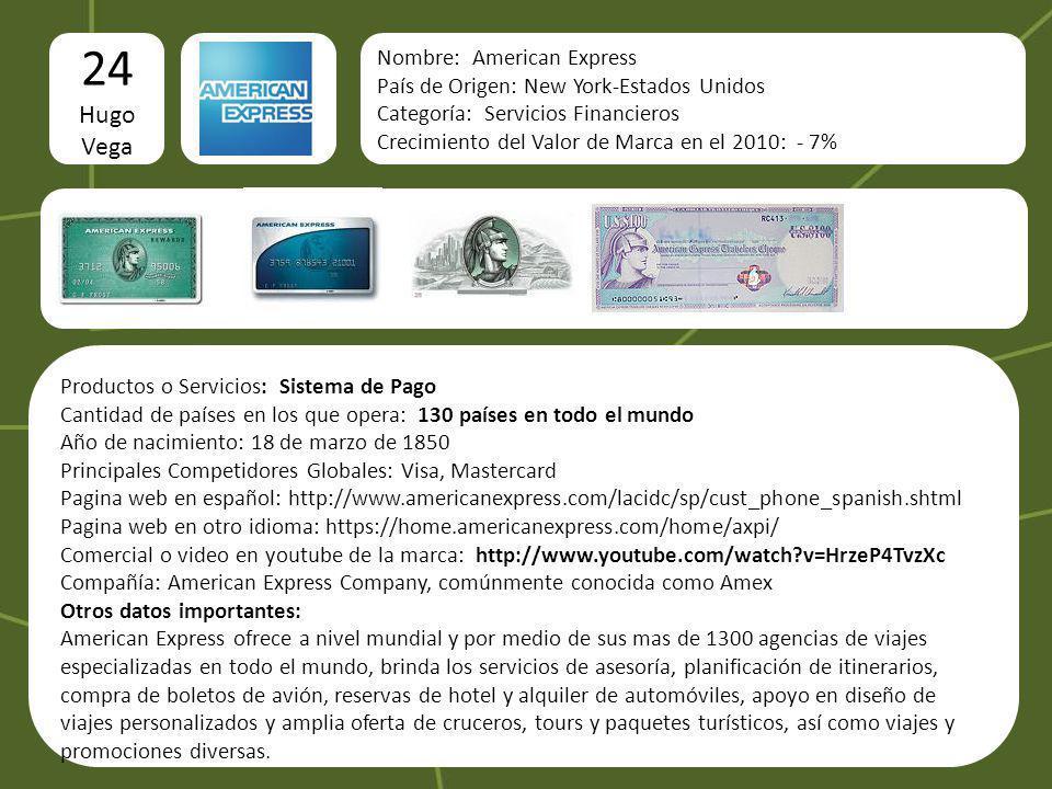 24 Hugo Vega Nombre: American Express
