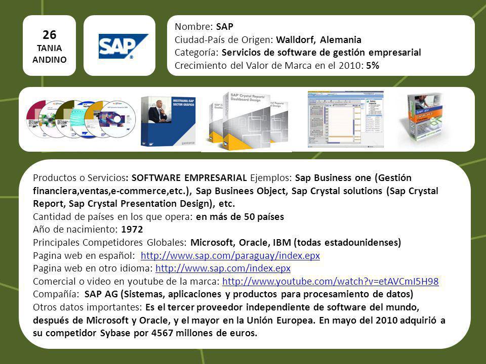 26 Nombre: SAP Ciudad-País de Origen: Walldorf, Alemania