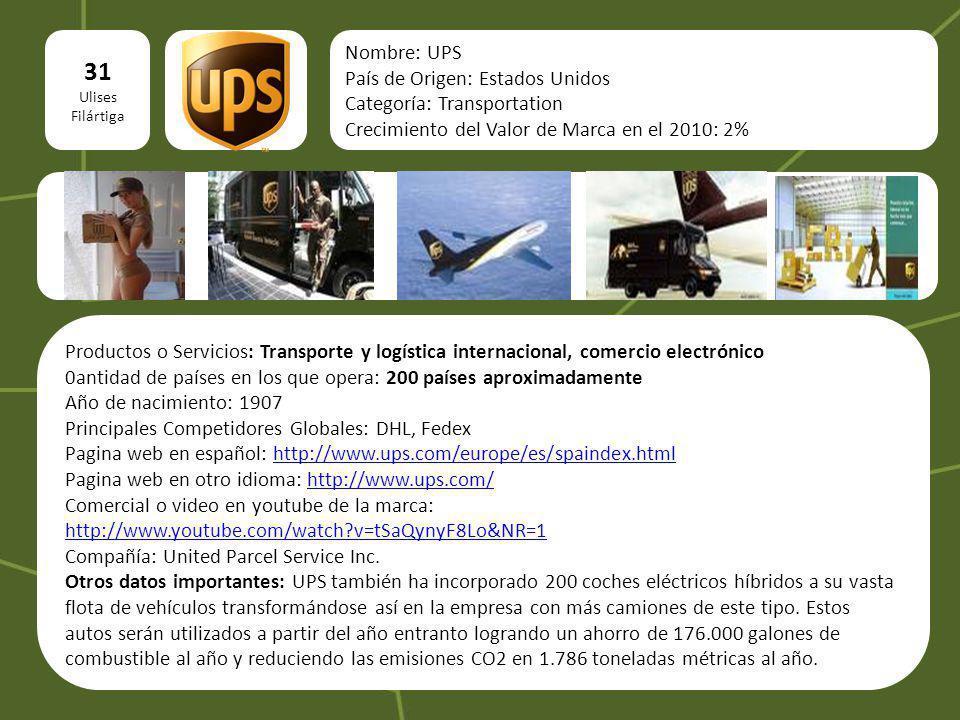 31 logo Nombre: UPS País de Origen: Estados Unidos