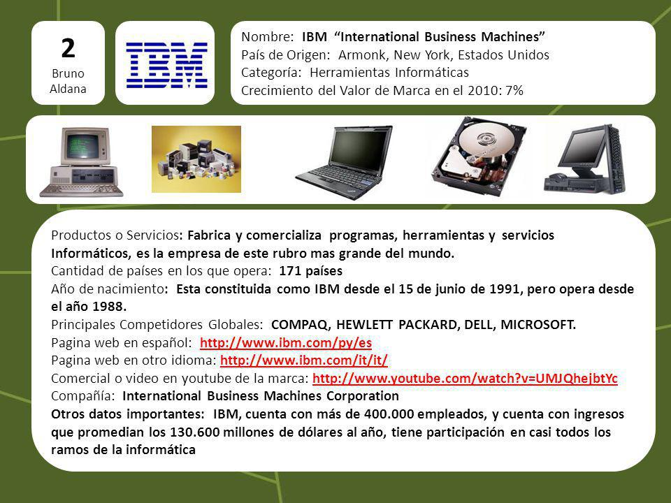 2 Nombre: IBM International Business Machines