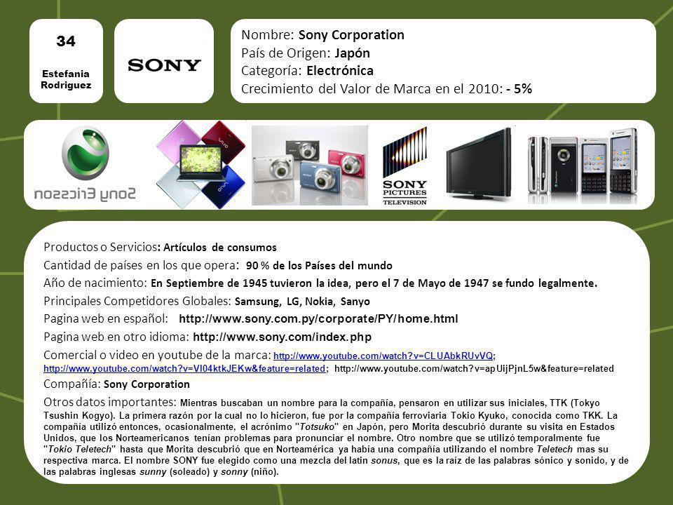 Nombre: Sony Corporation País de Origen: Japón Categoría: Electrónica