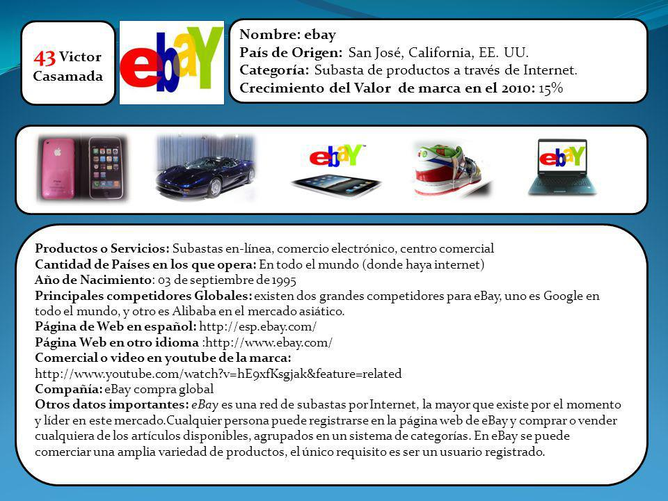 43 Victor Nombre: ebay País de Origen: San José, California, EE. UU.