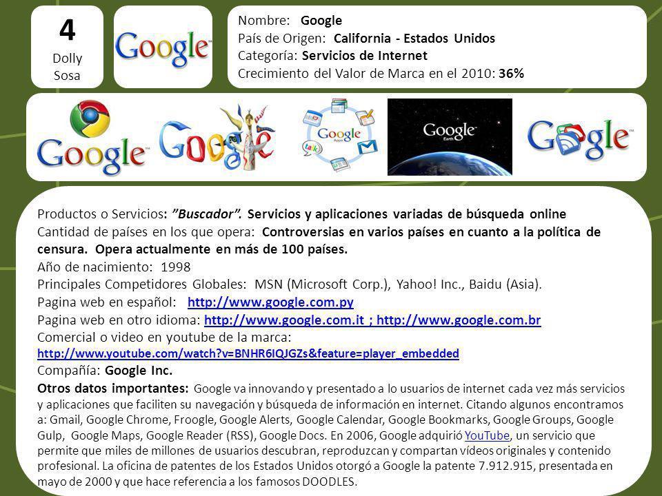 4 logo Nombre: Google País de Origen: California - Estados Unidos