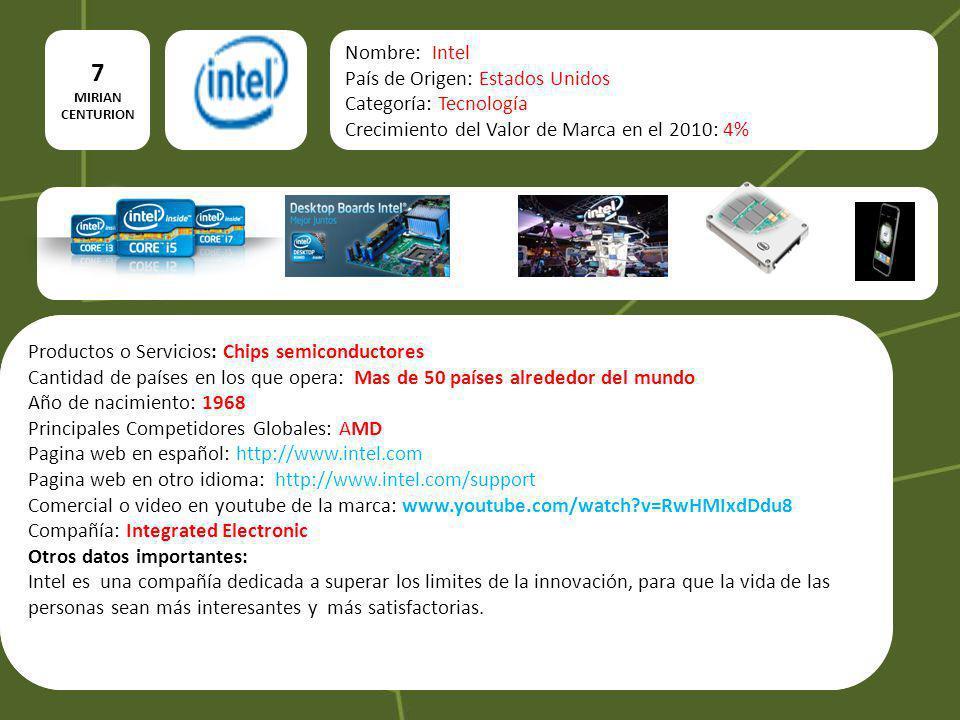 7 Nombre: Intel País de Origen: Estados Unidos Categoría: Tecnología