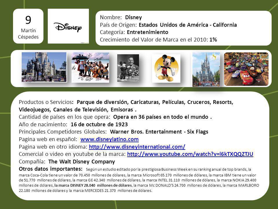 9 Martin. Céspedes. logo. Nombre: Disney. País de Origen: Estados Unidos de América - California.