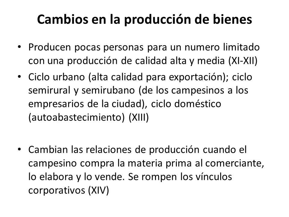 Cambios en la producción de bienes