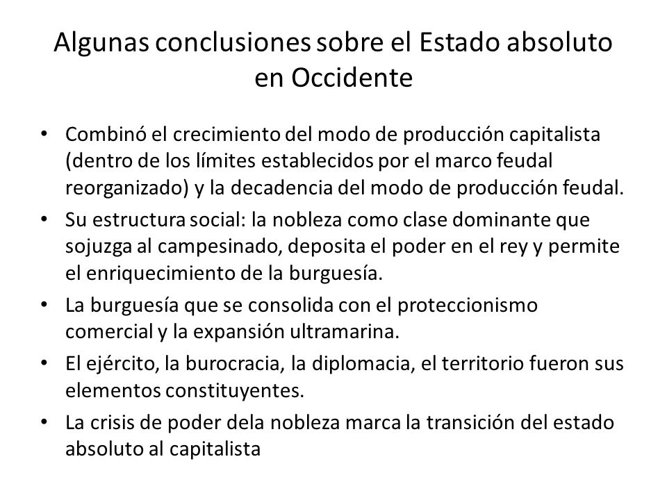 Algunas conclusiones sobre el Estado absoluto en Occidente