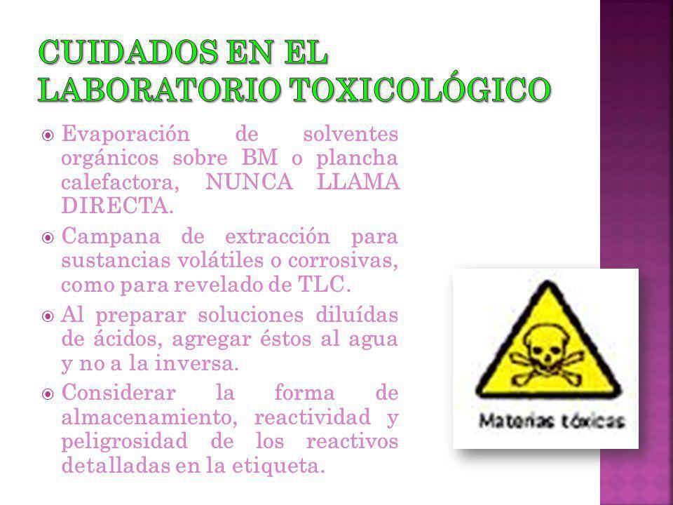 Cuidados en el laboratorio toxicológico