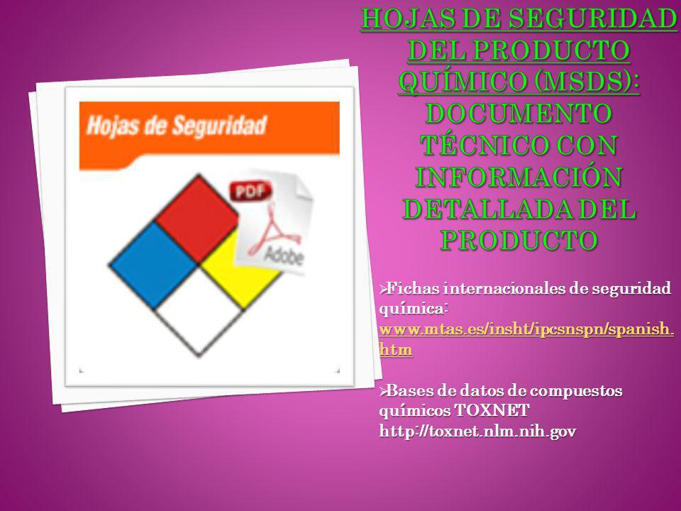 Hojas de seguridad del Producto químico (mSDS): documento técnico con información detallada del producto