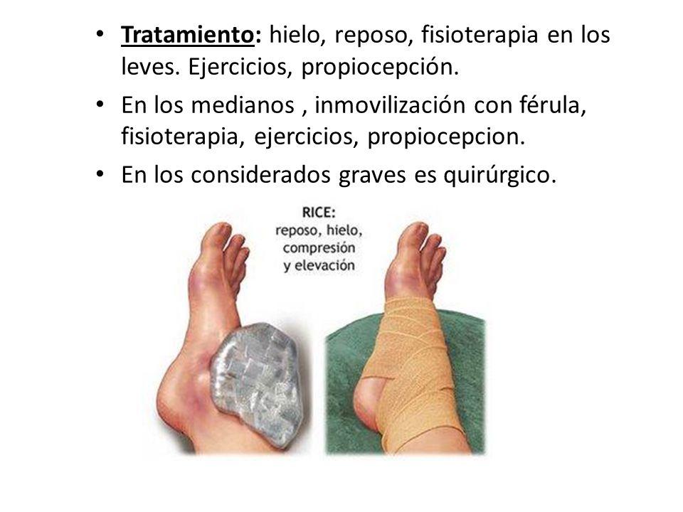 Tratamiento: hielo, reposo, fisioterapia en los leves