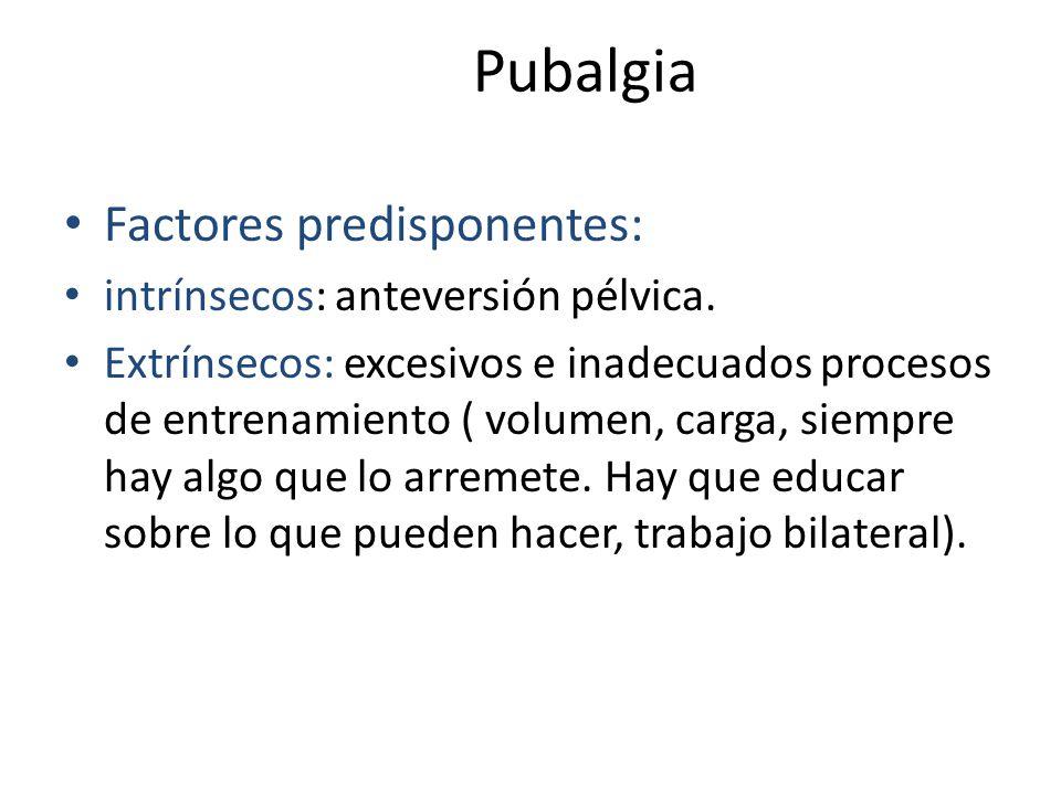 Pubalgia Factores predisponentes: intrínsecos: anteversión pélvica.