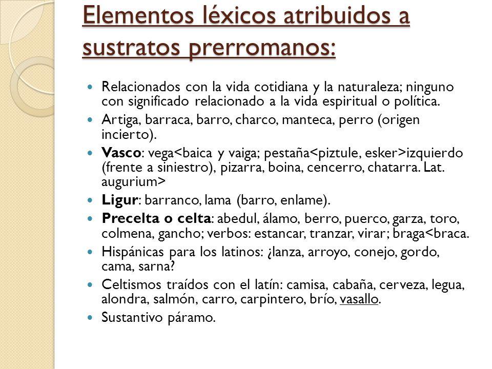 Elementos léxicos atribuidos a sustratos prerromanos: