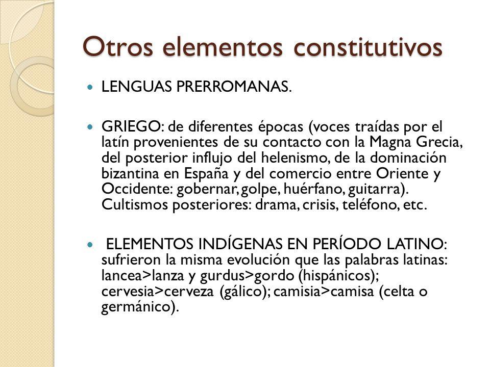 Otros elementos constitutivos