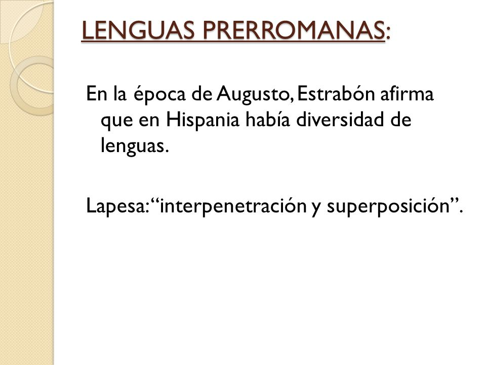 LENGUAS PRERROMANAS: