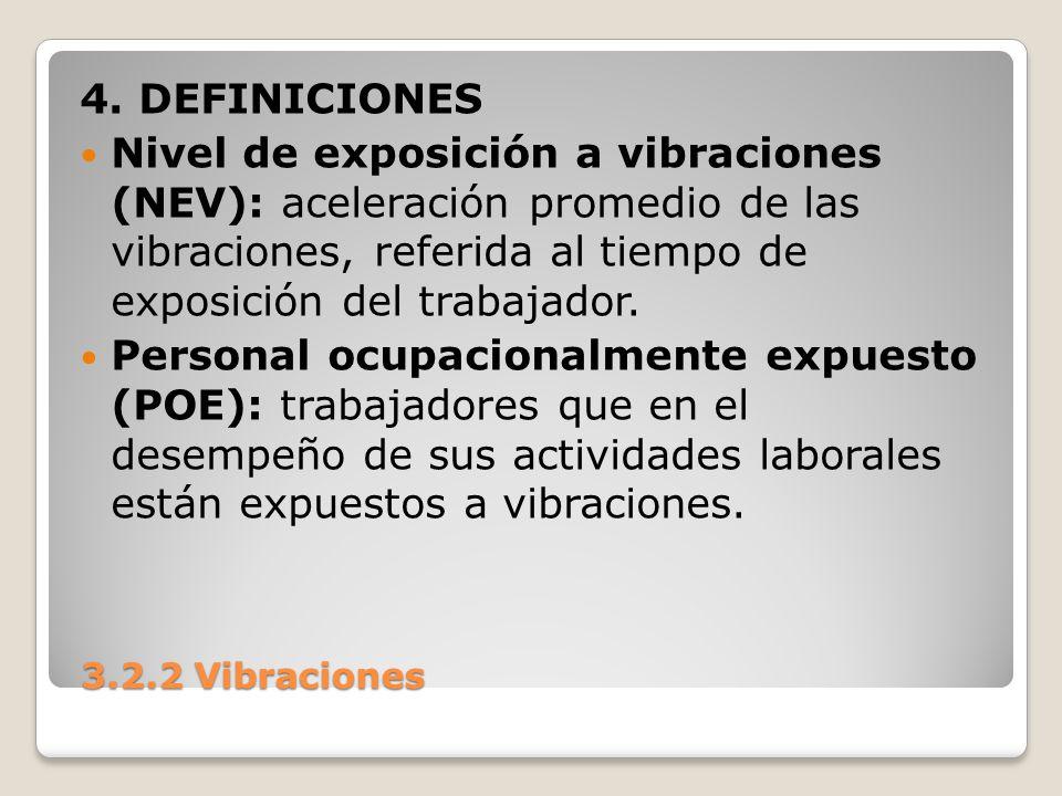 4. DEFINICIONES Nivel de exposición a vibraciones (NEV): aceleración promedio de las vibraciones, referida al tiempo de exposición del trabajador.