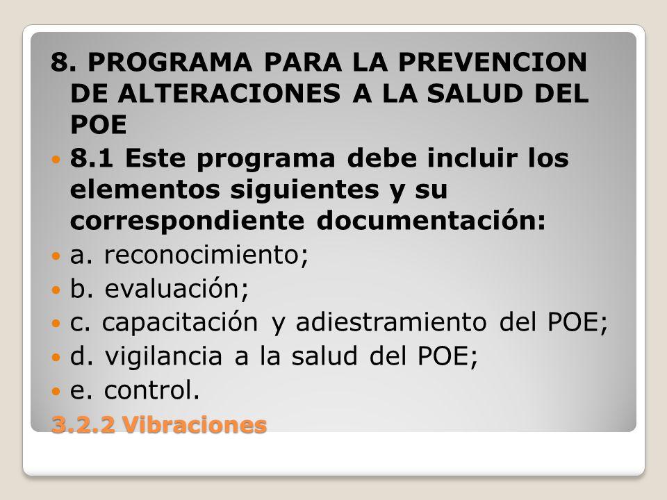 8. PROGRAMA PARA LA PREVENCION DE ALTERACIONES A LA SALUD DEL POE