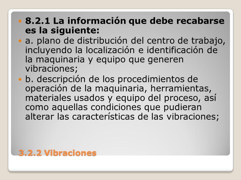8.2.1 La información que debe recabarse es la siguiente: