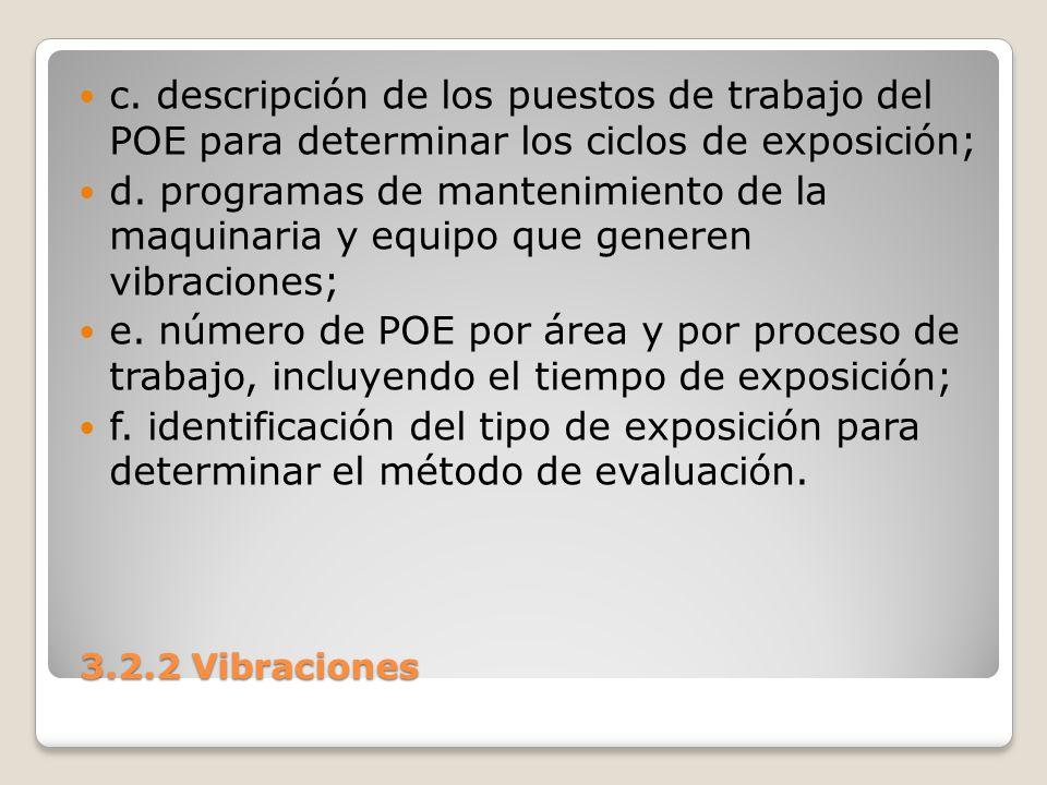 c. descripción de los puestos de trabajo del POE para determinar los ciclos de exposición;