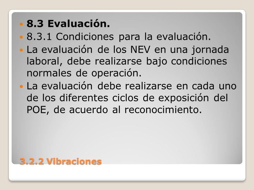 8.3.1 Condiciones para la evaluación.