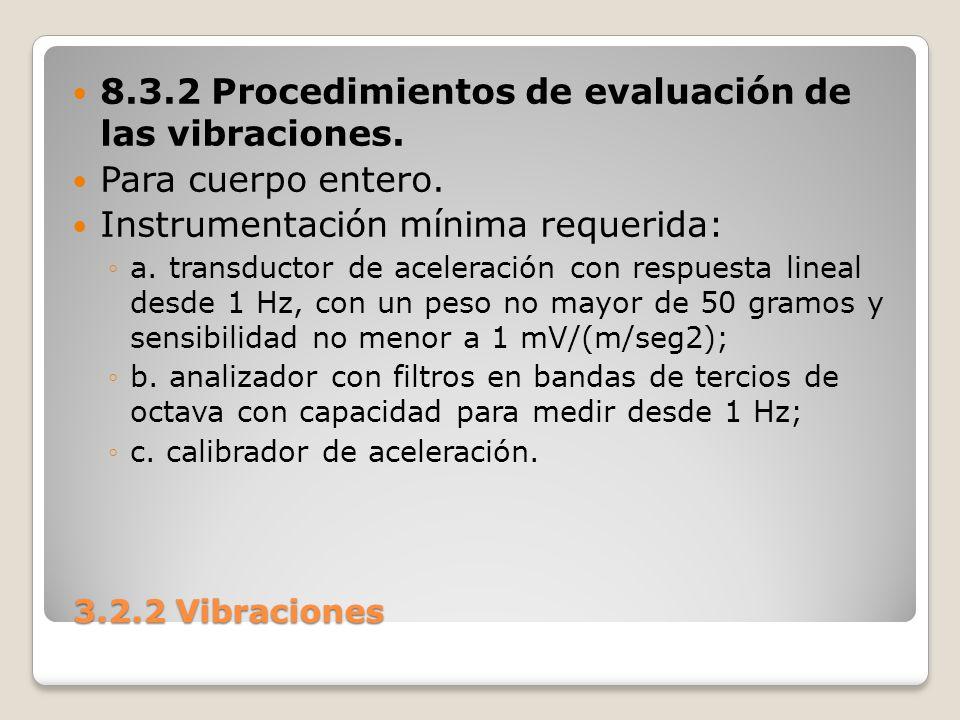 8.3.2 Procedimientos de evaluación de las vibraciones.