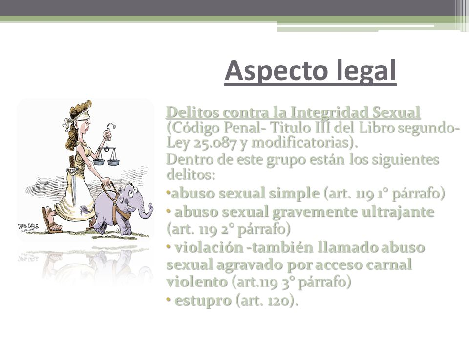 Aspecto legal Delitos contra la Integridad Sexual (Código Penal- Titulo III del Libro segundo- Ley 25.087 y modificatorias).
