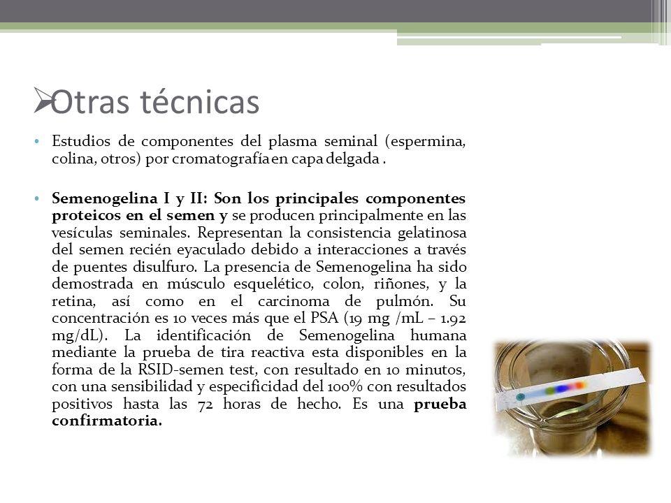 Otras técnicas Estudios de componentes del plasma seminal (espermina, colina, otros) por cromatografía en capa delgada .
