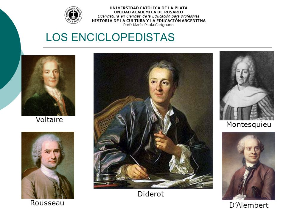 LOS ENCICLOPEDISTAS Voltaire Montesquieu Diderot Rousseau D'Alembert