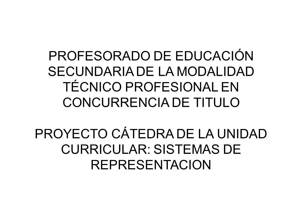 PROFESORADO DE EDUCACIÓN SECUNDARIA DE LA MODALIDAD TÉCNICO PROFESIONAL EN CONCURRENCIA DE TITULO PROYECTO CÁTEDRA DE LA UNIDAD CURRICULAR: SISTEMAS DE REPRESENTACION