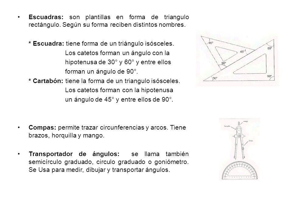 Escuadras: son plantillas en forma de triangulo rectángulo