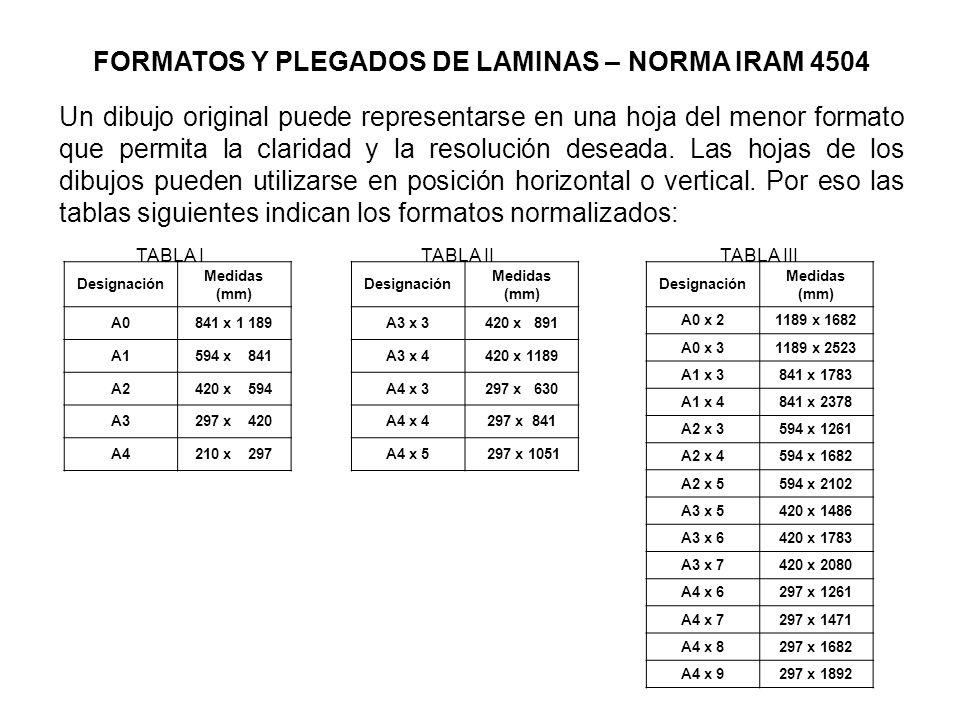 FORMATOS Y PLEGADOS DE LAMINAS – NORMA IRAM 4504