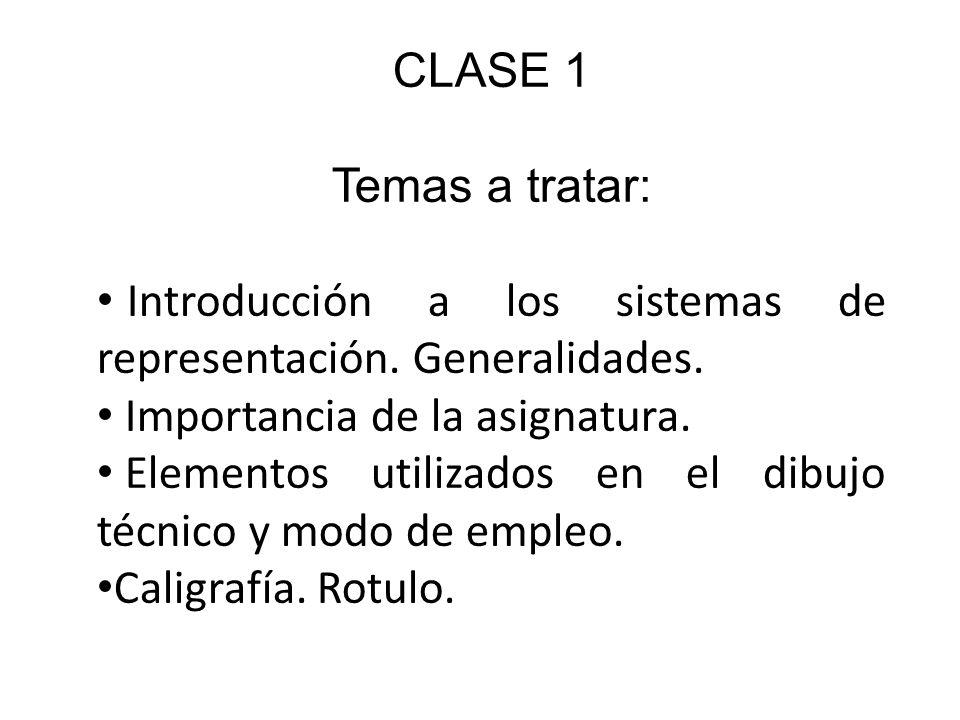 CLASE 1 Temas a tratar: Introducción a los sistemas de representación. Generalidades. Importancia de la asignatura.