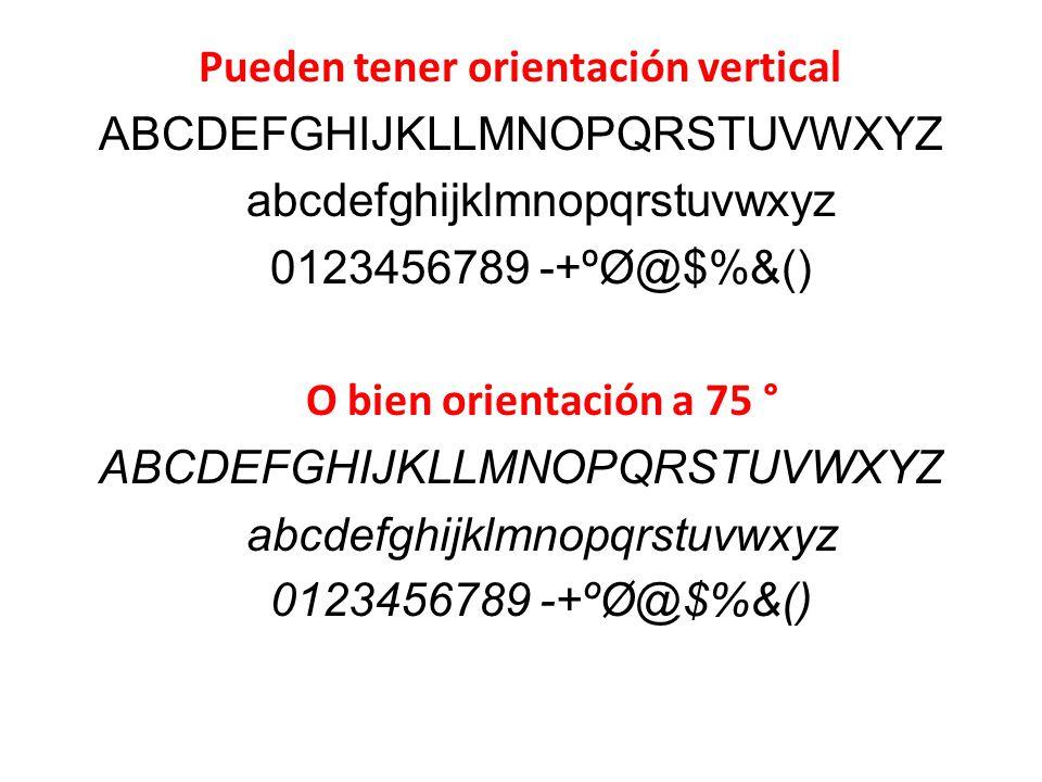 Pueden tener orientación vertical ABCDEFGHIJKLLMNOPQRSTUVWXYZ abcdefghijklmnopqrstuvwxyz 0123456789 -+ºØ@$%&() O bien orientación a 75 °