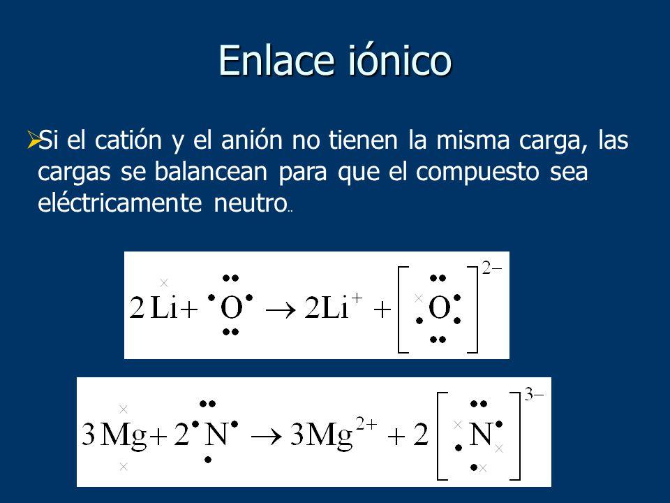 Enlace iónico Si el catión y el anión no tienen la misma carga, las cargas se balancean para que el compuesto sea eléctricamente neutro..