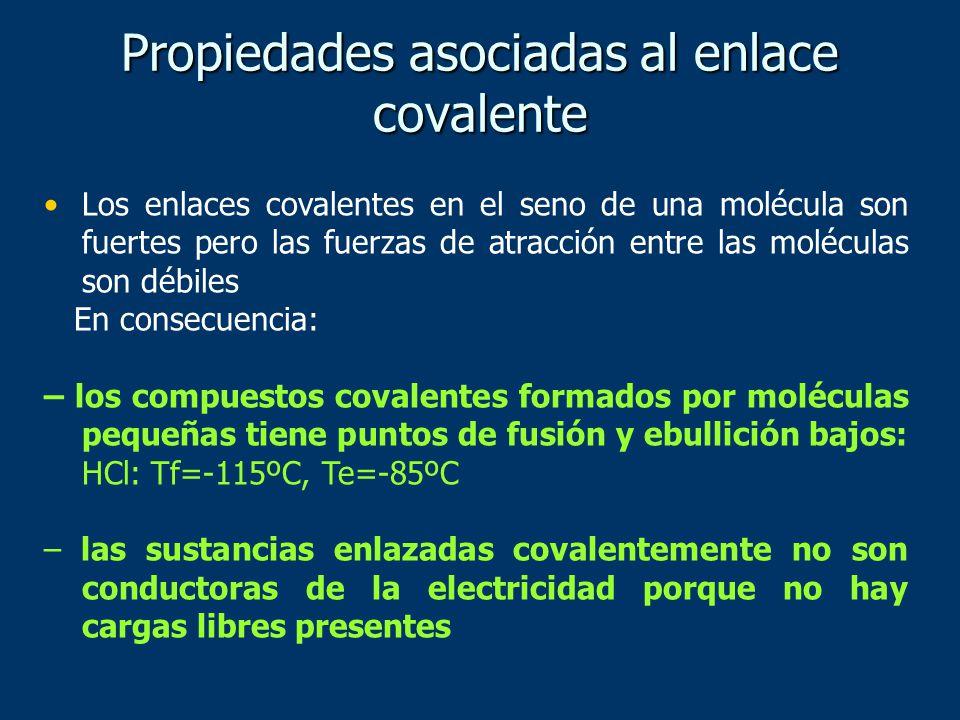 Propiedades asociadas al enlace covalente