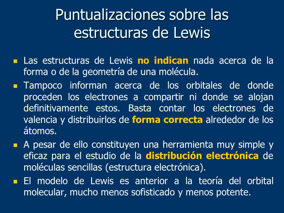 Puntualizaciones sobre las estructuras de Lewis