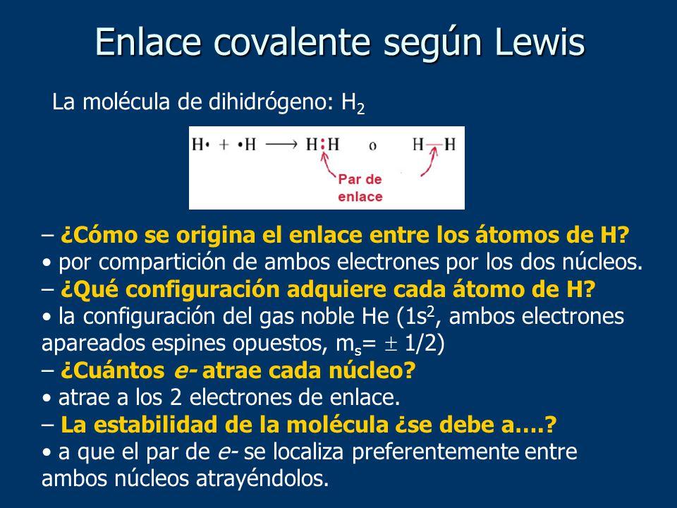 Enlace covalente según Lewis