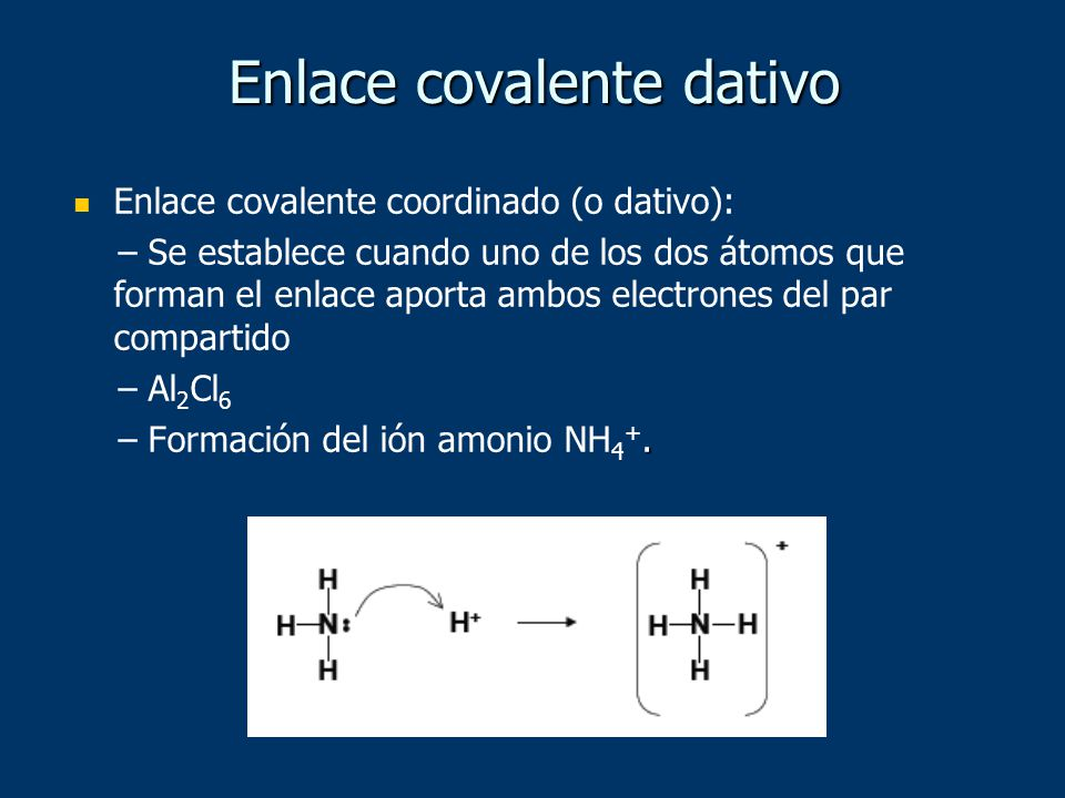 Enlace covalente dativo