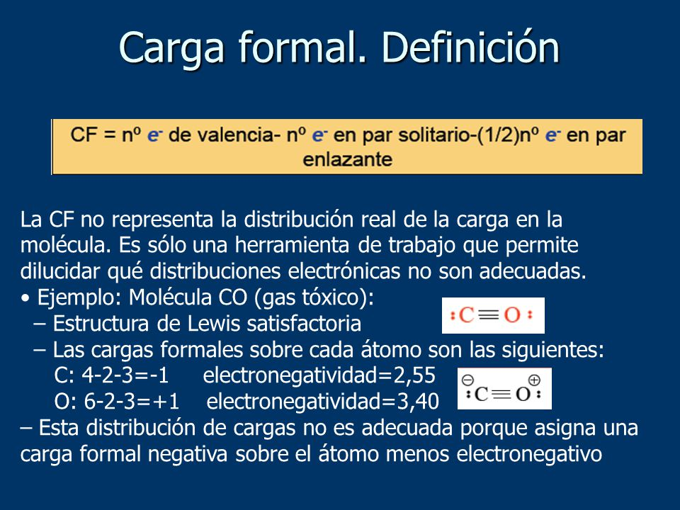 Carga formal. Definición